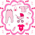 Baby girl collection,baby shower Royalty Free Stock Photo