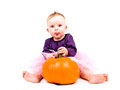 Baby girl in costume with halloween pumpkin cute little pink tutu skirt large on white background Royalty Free Stock Image