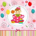 Baby girl in cup little vector illustration Royalty Free Stock Images