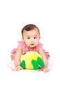 Baby girl cute was playing with her ​​dolls Royalty Free Stock Photography