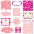 Baby girl design elements labels pink for scrapbook Royalty Free Stock Photo