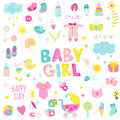 Baby Girl Design Elements Royalty Free Stock Photo