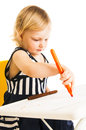 Baby girl drawing Royalty Free Stock Photo