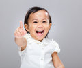 Baby girl excite with gray background Stock Image