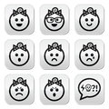 Baby girl faces avatar buttons set collection of child happy sad angry isolated on white Royalty Free Stock Photography