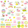 Baby Girl Flamingo Scrapbook Set. Decorative elements