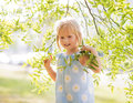 Baby girl in foliage Royalty Free Stock Photo