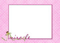 Baby girl frame with toy rattle pink plaid and polka dot for Stock Photography