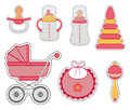 Baby girl icon set of stickers isolated on white background Royalty Free Stock Photos