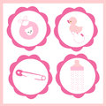Baby girl icon set vector greeting card Royalty Free Stock Photo