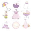 Baby girl items set in vector format Stock Photography