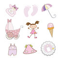 Baby girl items set in vector format Stock Photos
