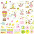 Baby Girl Kangaroo Scrapbook Set. Scrapbooking, Decorative Elements, Tags, Labels, Stickers, Notes Royalty Free Stock Photo