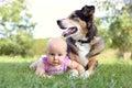 Baby Girl Laying Outside with Pet German Shepherd Dog Royalty Free Stock Photo