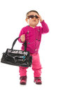 Baby girl model with sunglasses Stock Photos