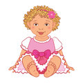 Baby girl in pink dress Happy princes Vector Royalty Free Stock Photo
