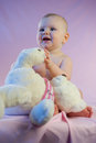 Baby girl pink teddy bear sitting toy Royalty Free Stock Photos
