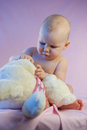 Baby girl pink teddy bear sitting toy Royalty Free Stock Photography