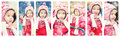 Baby girl playing on winter playground collage photos of a in clothes the Royalty Free Stock Images