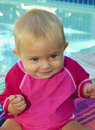 Baby Girl at the Pool Royalty Free Stock Photography