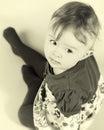 Baby girl portrait sepia studio photo sitting toddler Stock Photo
