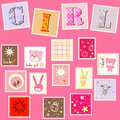 Baby girl postage cute set Royalty Free Stock Images