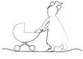 Baby girl with pram in a long dress a ribbon pulls toy Royalty Free Stock Photos