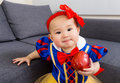 image photo : Baby girl with red apple