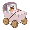Baby girl in retro stroller isolated on white background illustration Royalty Free Stock Images