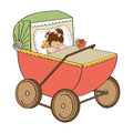 Baby girl in retro stroller isolated on white background illustration Stock Photography