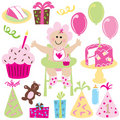 Baby girl's first birthday party Stock Images