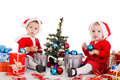 Baby girl santas two funny Stock Image