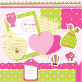 Baby girl scrapbook set of design elements for Royalty Free Stock Images