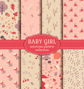 Baby girl seamless patterns. Vector collection. Royalty Free Stock Photo