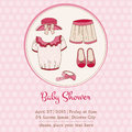Baby girl shower and arrival card or with place for your text in Stock Photos