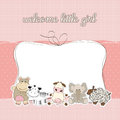 Baby girl shower card Royalty Free Stock Images