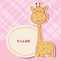 Baby girl shower card with  giraffe Stock Photography