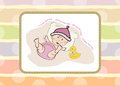 Baby girl shower card illustration in format Royalty Free Stock Photo