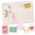 Baby Girl Shower Card with set of stamps Royalty Free Stock Photography