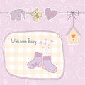 Baby girl shower card with socks illustration in vector format Royalty Free Stock Photo