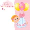 Baby Girl Shower Card Vector Illustration. Baby Shower Invitation