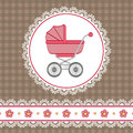 Baby girl shower with carriage and flowers Royalty Free Stock Photography