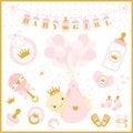 Baby girl shower vector set of design elements.