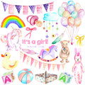 Baby girl shower watercolor elements set toys, unicorn, air balloons, rainbow, nipple, feathers and other Royalty Free Stock Photo
