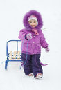 baby girl with sledges