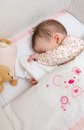 Baby girl sleeping in a cot with pacifier and toy Stock Images
