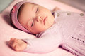 Baby girl sleeping cute tight Royalty Free Stock Photo