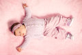 Baby girl sleeping cute tight Royalty Free Stock Photography