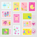 Baby Girl Stamps Design Elements Royalty Free Stock Photo
