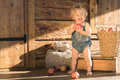 Baby girl stands and smiles near wooden barn caucasian one year old smiling or house with sack box basket with apples on Stock Image